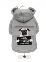 ''Police Mugshot - Pug'' Fleece-Lined Dog Hoodie / Sweatshirt