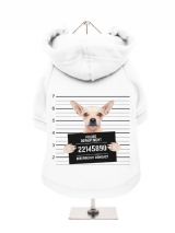 ''Police Mugshot - Chihuahua'' Fleece-Lined Dog Hoodie / Sweatshirt