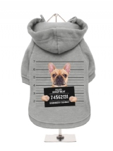 ''Police Mugshot - French Bulldog'' Fleece-Lined Dog Hoodie / Sweatshirt