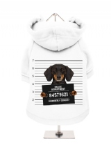 ''Police Mugshot - Dachshund'' Fleece-Lined Dog Hoodie / Sweatshirt