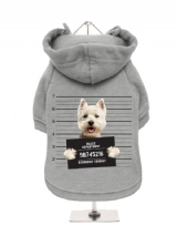 ''Police Mugshot - West Highland Terrier'' Fleece-Lined Dog Hoodie / Sweatshirt