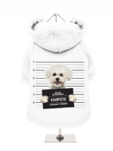 ''Police Mugshot - Bichon Friese'' Fleece-Lined Dog Hoodie / Sweatshirt