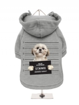 ''Police Mugshot - Shih Tzu'' Fleece-Lined Dog Hoodie / Sweatshirt