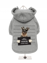 ''Police Mugshot - Schnauzer'' Fleece-Lined Dog Hoodie / Sweatshirt