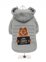 ''Police Mugshot - Pomeranian'' Fleece-Lined Dog Hoodie / Sweatshirt