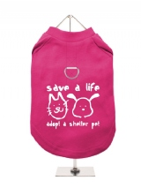 ''Save A Life, Adopt A Shelter Pet'' Harness-Lined Dog T-Shirt