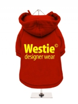 ''Westie Designer Wear'' Fleece-Lined Dog Hoodie / Sweatshirt