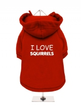 I LOVE | SQUIRRELS - Fleece-Lined Dog Hoodie / Sweatshirt